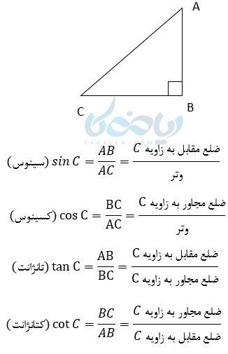 نسبتهای مثلثاتی در آموزش مثلثات