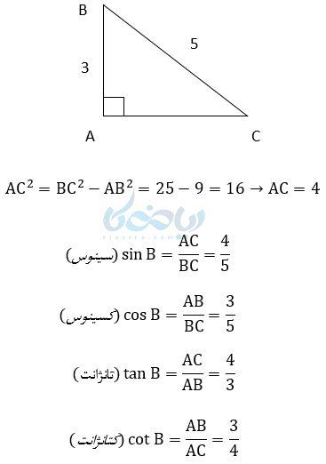 یک مثال دیگر در پاسخ به این پرسش که مثلثات چیست