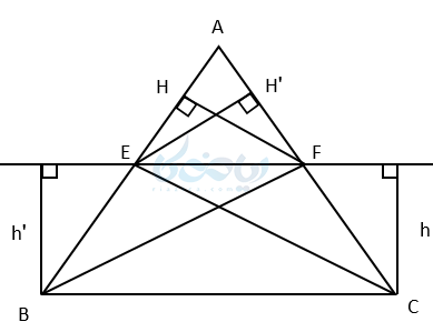 قضیه تالس می گوید که اگر خط موازی یکی از اضلاع مثلث رسم شود و دو ضلع دیگر را قطع کند روی آنها پاره خط های متناسب به وجود میآورد.