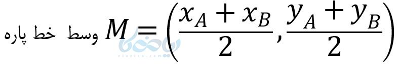 آموزش معادله خط می آموزد که اگر مختصات دو سر یک پاره خط را داشته باشیم می توانیم مختصات نقطه وسط یک پاره خط را پیدا کنیم .