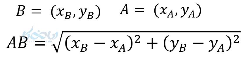 آموزش معادله خط می آموزد که اگر نقاطی را داشته باشیم و طول پاره خط متشکل از آن را بخواهیم از رابطه فیثاغورس می توانیم کمک بگیریم .