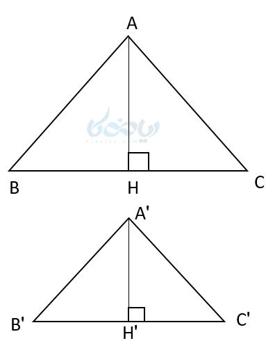 در دو مثلث متشابه نسبت ارتفاع ها به یکدیگر با نسبت اضلاع آنها برابر است