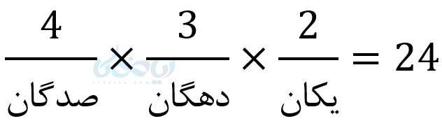 سه رقمی بدون تکرار ارقام در تعمیم اصل ضرب