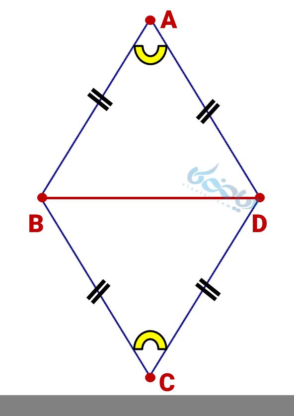 دو مثلث هم نهشت درون لوزی