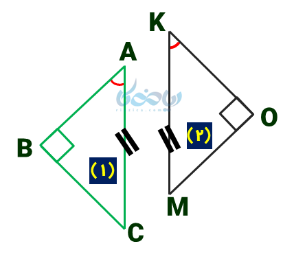 اثبات حالت های هم نهشتی مثلث های قائم الزاویه 2