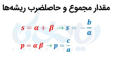 روابط بین ریشه های معادله درجه دو
