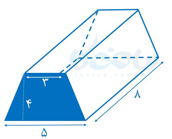 حجم منشور با قاعدۀ ذوزنقه- محاسبه حجم های منشوری هفتم